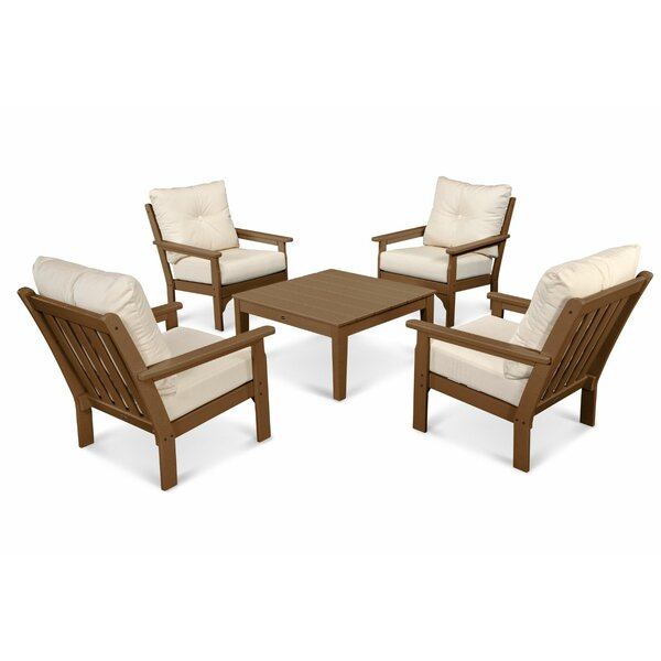 Vineyard 5 Piece Sunbrella Conversation Set with Cushion by POLYWOOD®