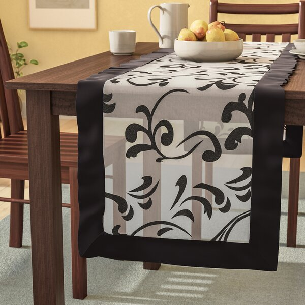 Mannion Flocked Design Motif Table Runner by Andover Mills