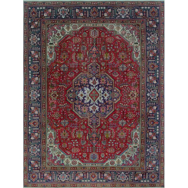 Brookmont Vintage Distressed Hand Knotted Wool Red Area Rug by Bloomsbury Market