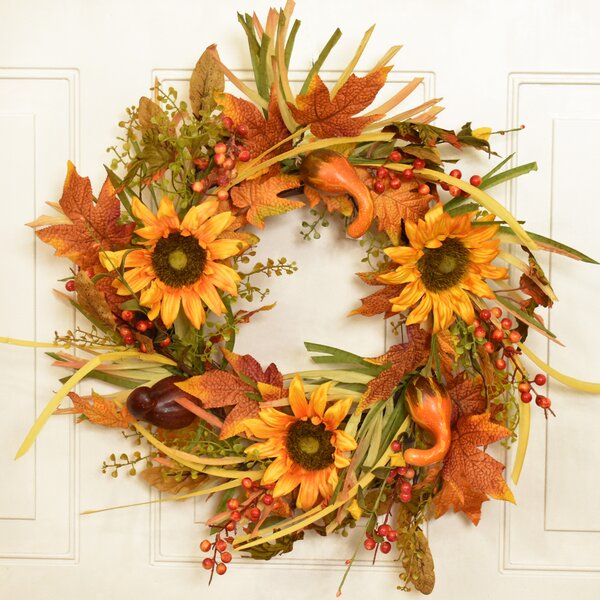 22 Faux Flower Wreath by August Grove