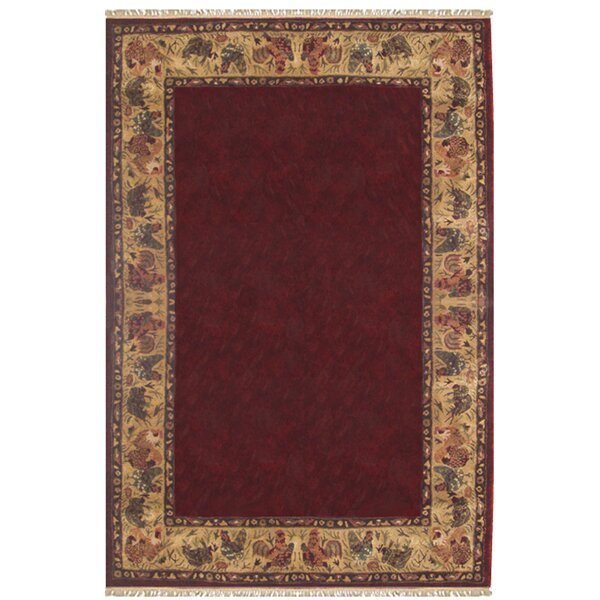Daelen Chicken and Rooster Hand-Tufted Wool Burgundy Area Rug