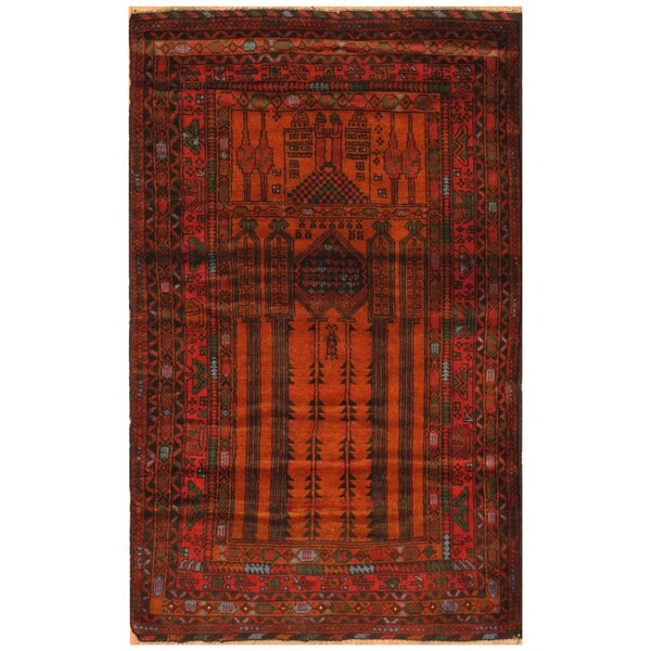One-of-a-Kind Prentice Hand-Knotted Wool Rust/Navy Area Rug by Isabelline