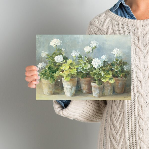 White Geraniums Painting Print on Wrapped Canvas b