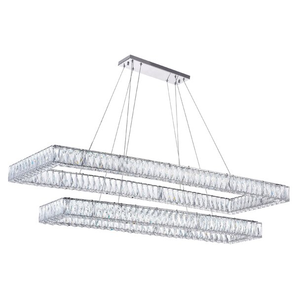 2 - Light Rectangle Tiered LED Chandelier by CWI Lighting CWI Lighting