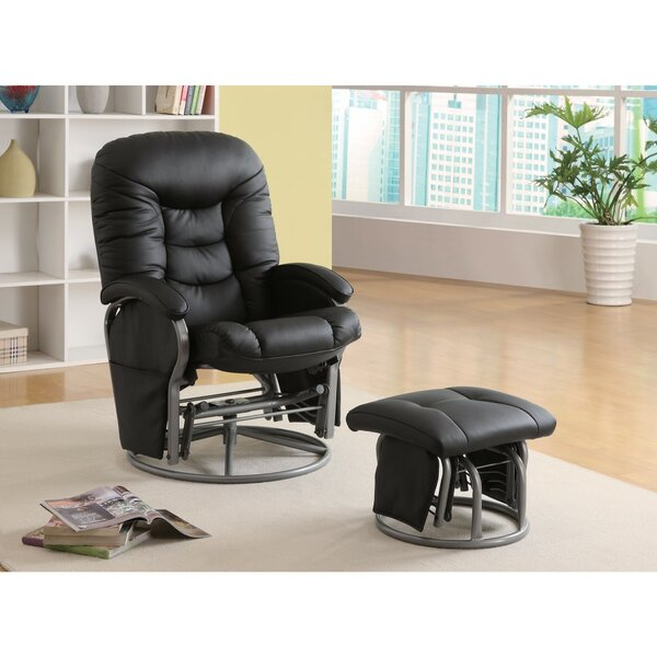 Dewells Stylishly Sophisticated Glider Manual Swivel Recliner with Ottoman by Latitude Run