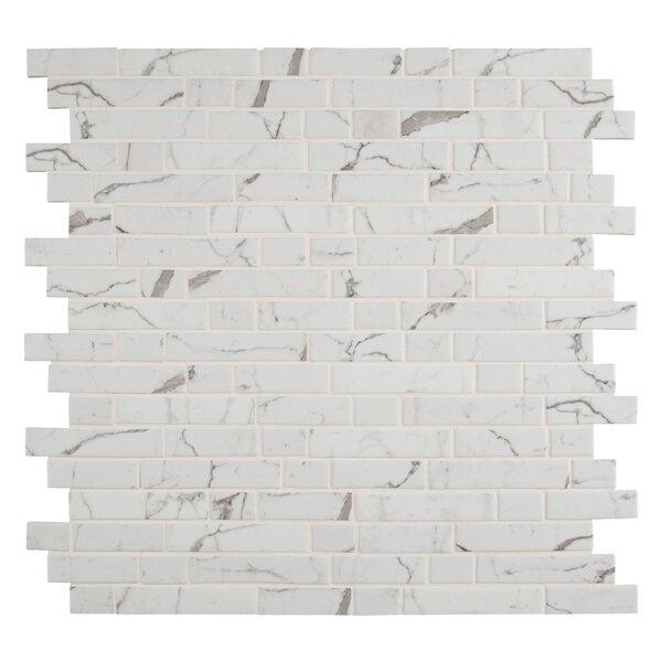 Statuario Celano Random Sized Glass Mosaic Tile in White by MSI