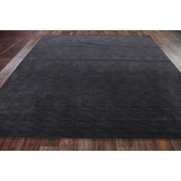 One-of-a-Kind Espen Gabbeh Indian Oriental Hand-Knotted Wool Gray/Charcoal Area Rug by Ebern Designs
