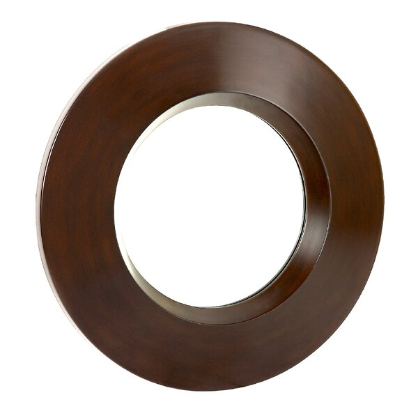 Modern Circular Decorative Brown Hanging Wall Mirror by Majestic Mirror