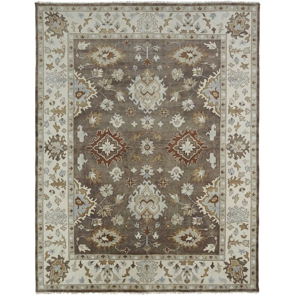 Glenda Hand Knotted Wool Brown/Ivory Area Rug by Darby Home Co