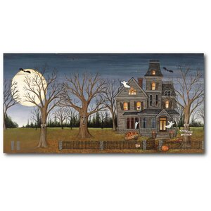 'Haunted House with Full Moon' Graphic Art Print on Canvas by The Holiday Aisle