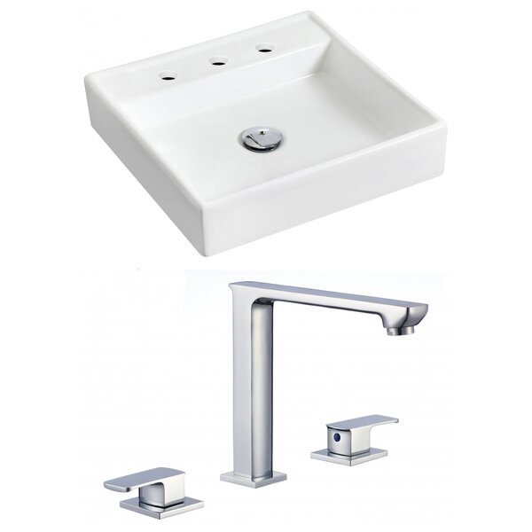 Ceramic 18 Wall Mount Bathroom Sink with Faucet by Royal Purple Bath Kitchen
