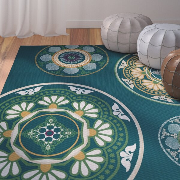 Soluri Teal Area Rug by Bungalow Rose