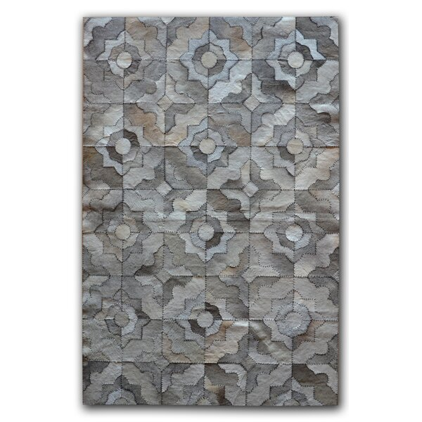Bettis Natural Stitch Hand-Tufted Cowhide Marrakeche Gray Area Rug by Bungalow Rose