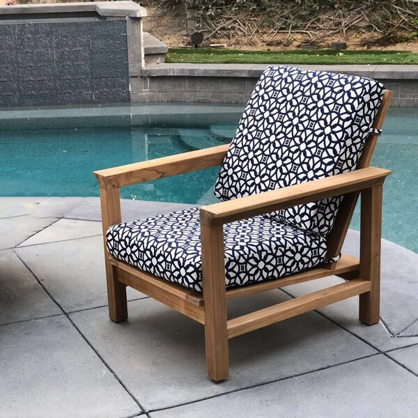 Grenier Teak Patio Chair with Sunbrella Cushions by Bungalow Rose
