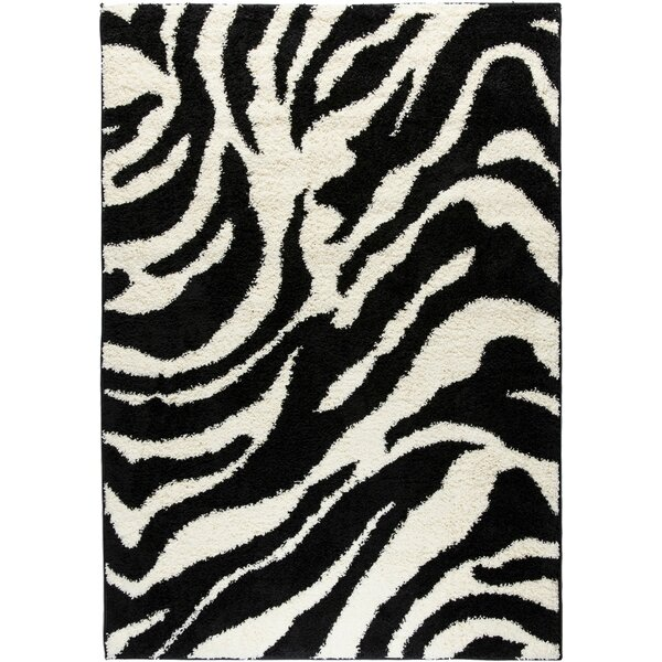 Madison Shag Black Safari Area Rug by Well Woven