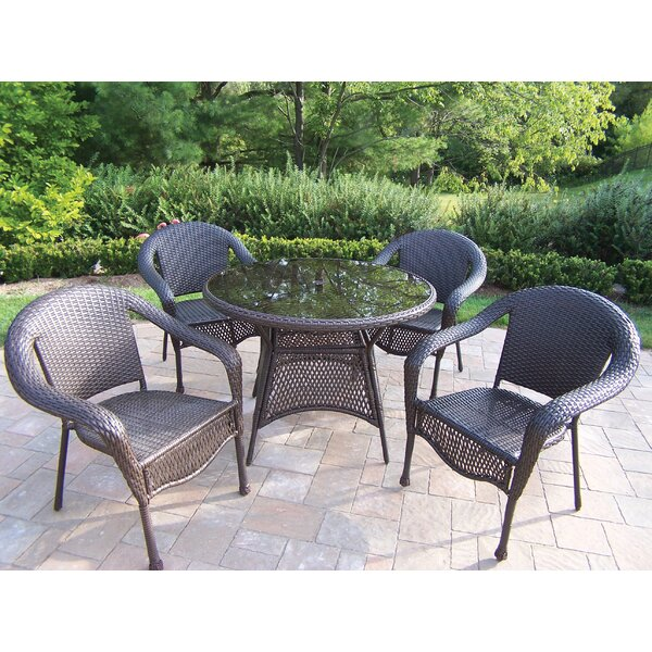 Kingsmill Traditional 5 Piece Wicker/Rattan Dining Set by Rosecliff Heights
