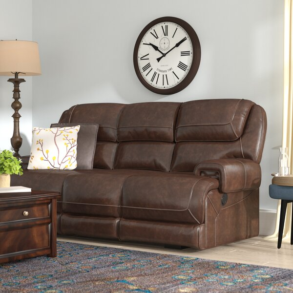 Applewood Leather Reclining Sofa by Red Barrel Studio