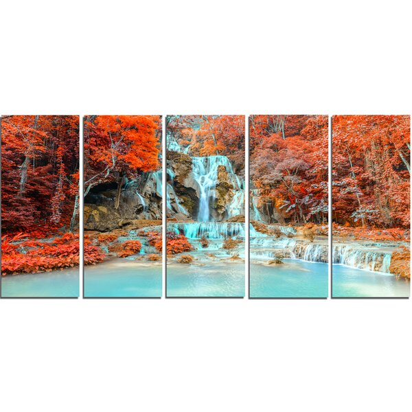 Rainforest Waterfall Loas 5 Piece Wall Art on Wrapped Canvas Set by Design Art