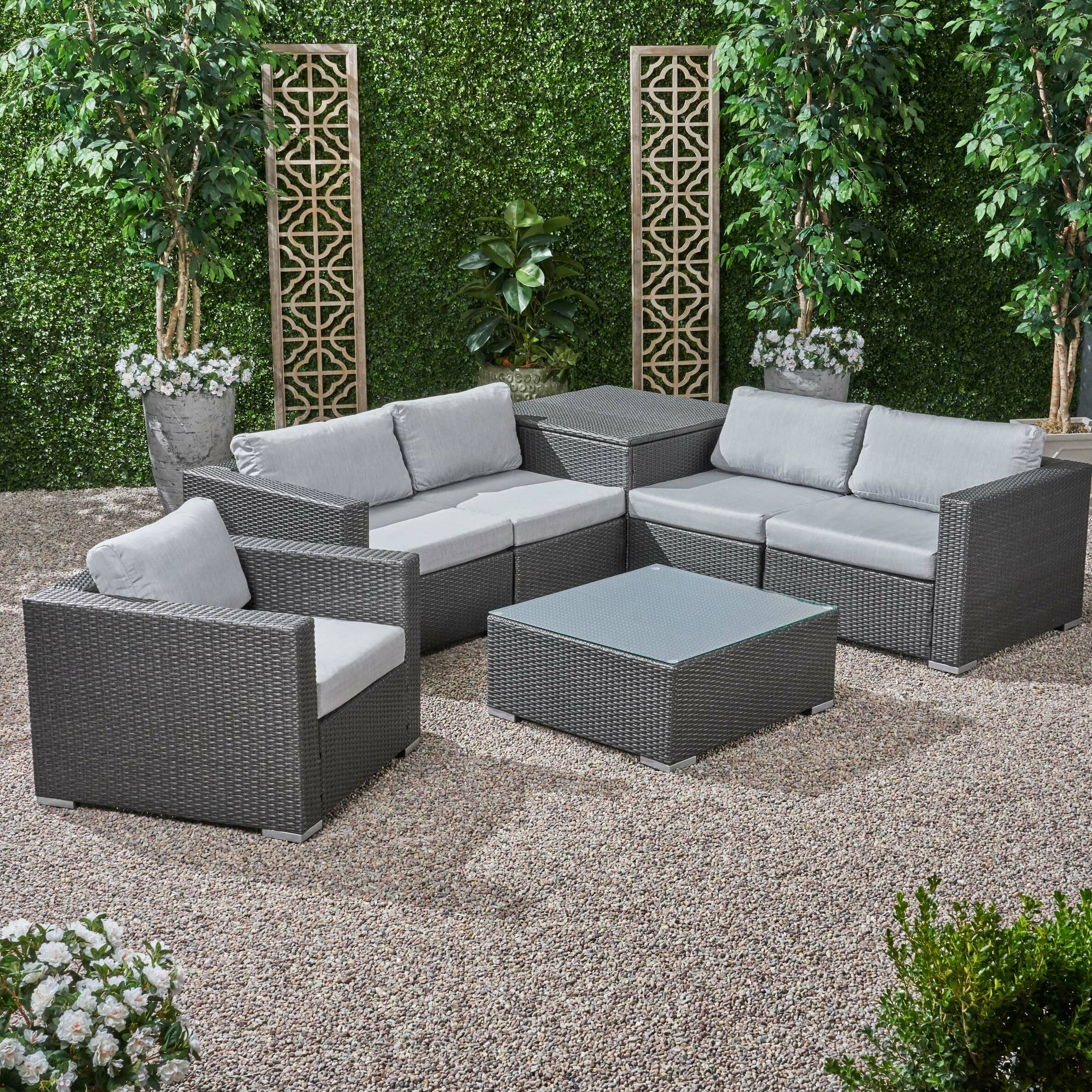 Fine Roxann Outdoor 5 Seater Wicker Sectional Sofa Set With Storage Ottoman And Sunbrella Cushions Ocoug Best Dining Table And Chair Ideas Images Ocougorg