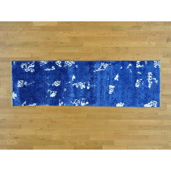 One-of-a-Kind Bean Art Handwoven Blue Silk Area Rug by Isabelline
