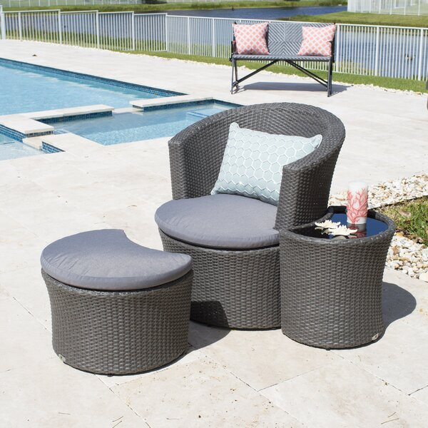 Boca Outdoor 3 Piece Patio Chair with Cushion and Ottoman by MIX