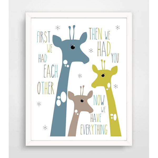 First We Had Each Other Blue Giraffe Paper Print by Finny and Zook