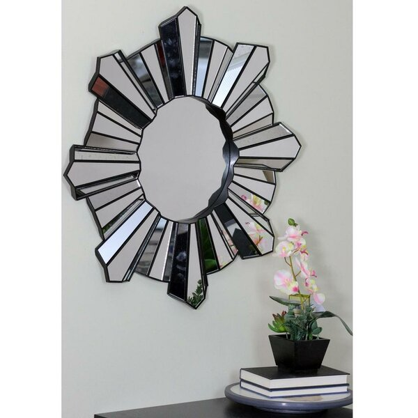 Arambula Sparkling Sunburst Wave Round Wall Mirror by Ivy Bronx