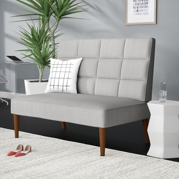 Andrade Modern Grid Upholstered Settee by Mercury Row