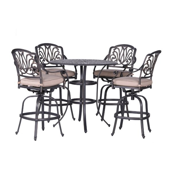 Gunter 5 Piece Bar Height Dining Set with Sunbrella Cushions by Fleur De Lis Living