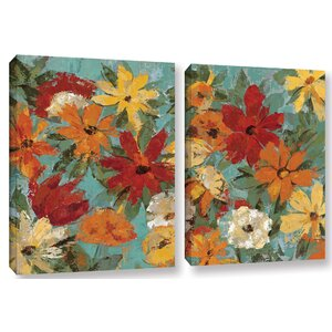 'Bright Expressive Garden' 2 Piece Painting Print on Canvas Set by Andover Mills