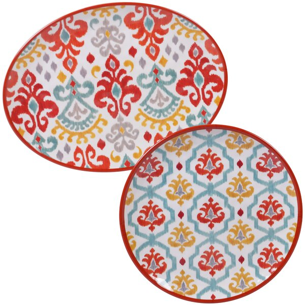 Simen 2 Piece Melamine Platter Set by Bungalow Rose