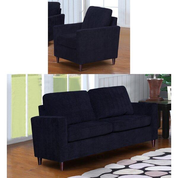Anglin Raisin Fabric Modern 2 Piece Living Room Set by Wrought Studio