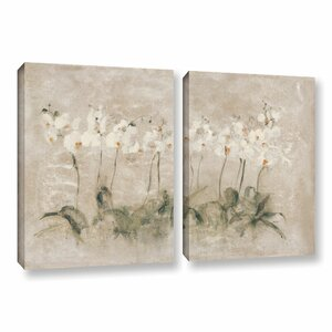 White Dancing Orchids 2 Piece Painting Print on Wrapped Canvas Set by Lark Manor