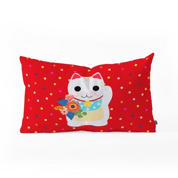 Hello Sayang Lucky Cat Oblong Lumbar Pillow by East Urban Home