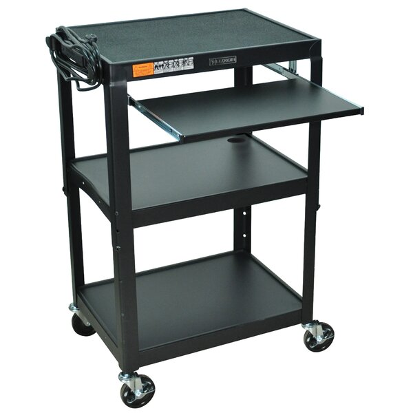 Compact Steel Mobile Computer Workstation AV Cart by Luxor