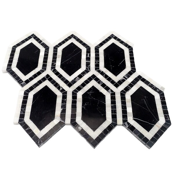 Infinite Random Sized Marble Mosaic Tile in Nero by Splashback Tile