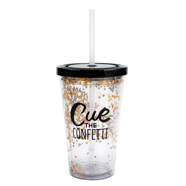 Eric Cue the Confetti 19 oz. Plastic Travel Tumbler by Hallmark