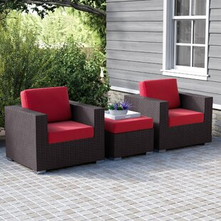 Ryele 3 Piece Rattan Conversation Set with Cushions By Latitude Run