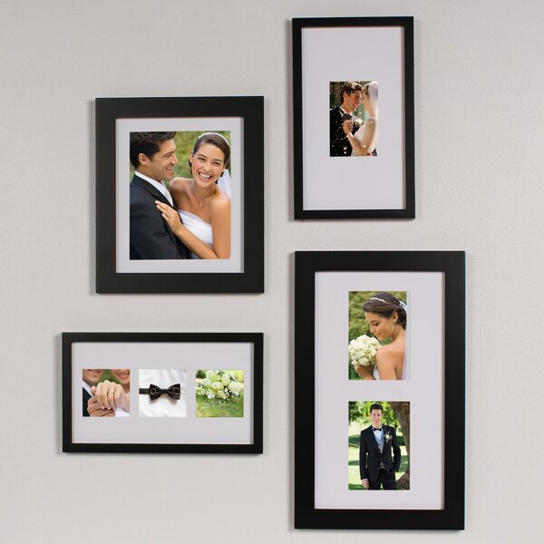 4 Piece Gallery Flat Museum Matted Wood Picture Frame Set by DesignOvation