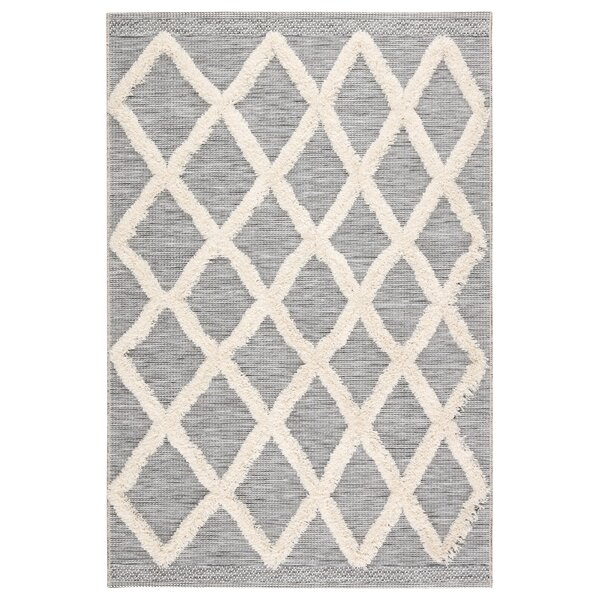 Veun Trellis Gray/Beige Indoor/Outdoor Area Rug by Bungalow Rose