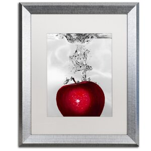 Red Apple Splash by Roderick Stevens Framed Graphic Art by Trademark Fine Art