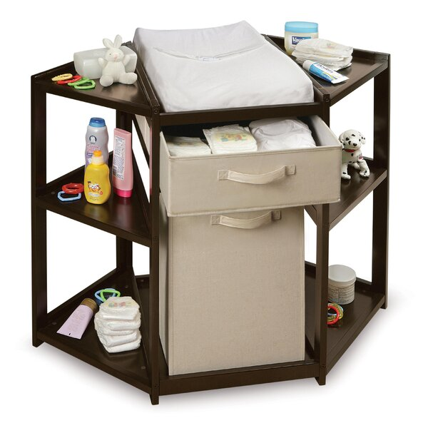 Badger Basket Diaper Corner Baby Changing Table With Hamper And Basket U0026  Reviews | Wayfair