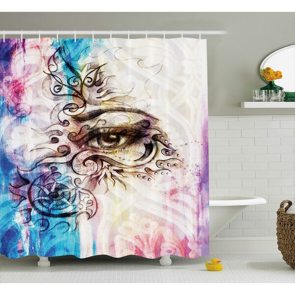 Fabric Woman Eye Grungy Retro Shower Curtain by East Urban Home