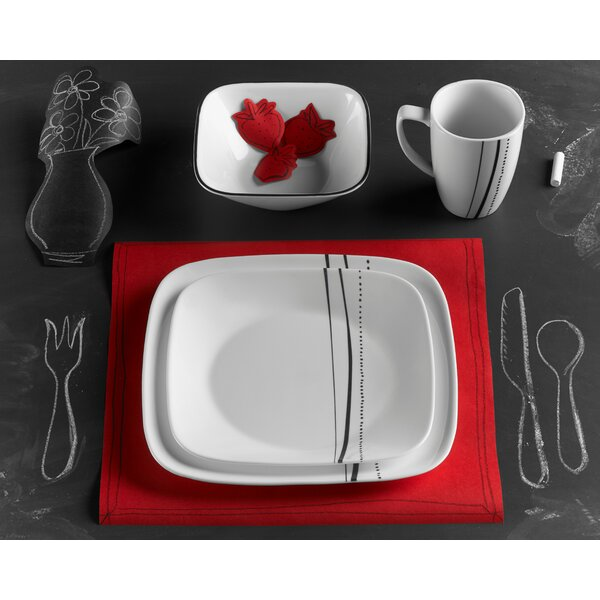 Cascading Lines 16 Piece Square Dinnerware Set, Service for 4 by Corelle