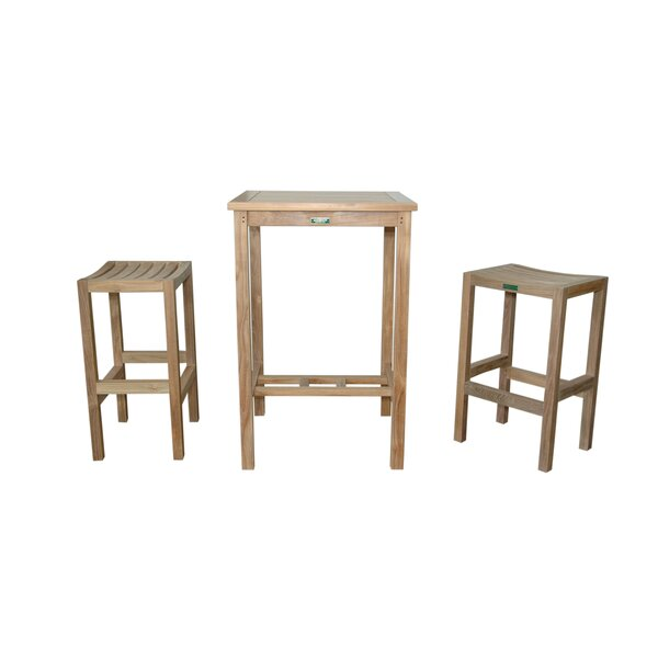 Avalon 3 Piece Teak Bar Height Dining Set by Anderson Teak