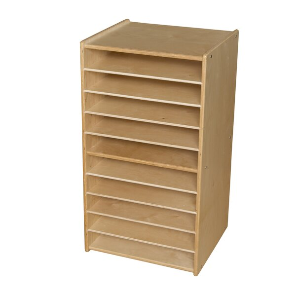 Paper and Puzzle 10 Compartment Cubby with Casters by Wood Designs