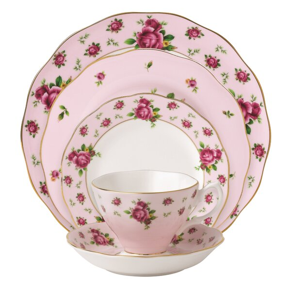 New Country Roses Vintage formal Bone China 5 Piece Place Setting, Service for 1 by Royal Albert