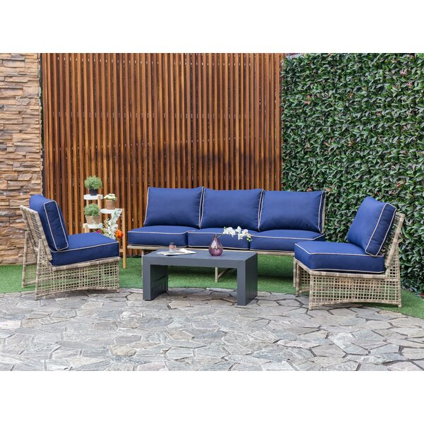 Lauryn Outdoor 3 Piece Sofa Sectional Seating Group with Cushions by Bay Isle Home