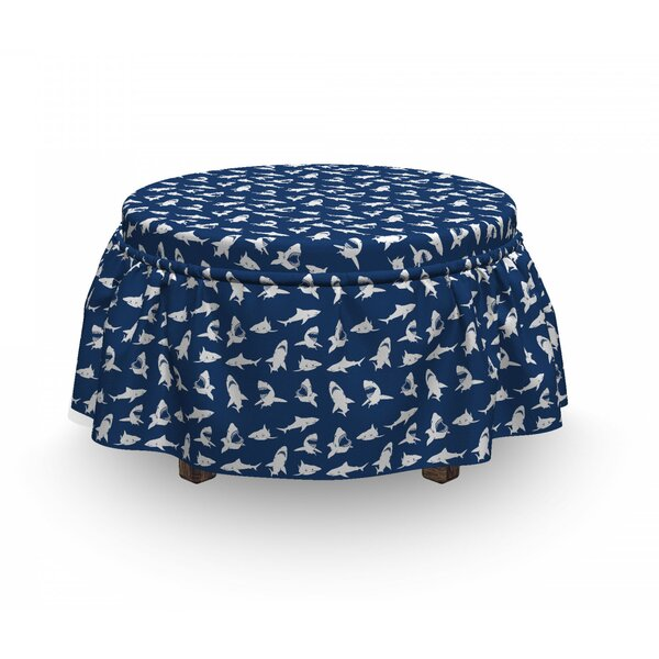 Shark Various Gestures Humorous 2 Piece Box Cushion Ottoman Slipcover Set (Set Of 2) By East Urban Home