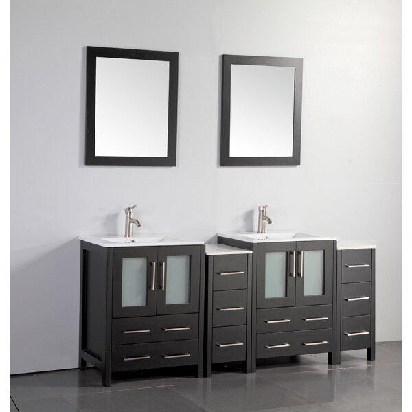 Karson Modern 72 Double Bathroom Vanity Set with Mirror by Wade Logan